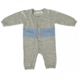 Merino Kids - All in One (Onesie) - Grey - Blue  NB - 3 months