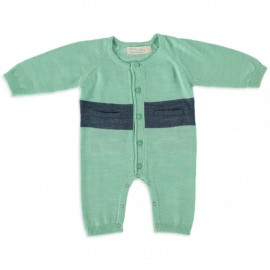 Merino Kids - All in One (Onesie) - Green - Navy  NB - 3 months