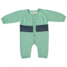 Merino Kids - All in One (Onesie) - Green - Navy  NB - 3 months