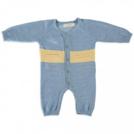 Merino Kids - All in One (Onesie) - Blue - Yellow  NB - 3 months