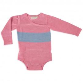 Merino Kids Bodysuit - Pink - Blue, NB - 3 Months