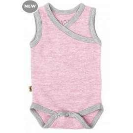 Cocooi Singlet Bodysuit Light Pink/Grey 3 - 6 months