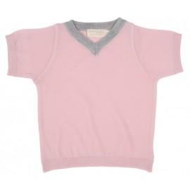 Cocooi Lightweight Merino V-neck Tee -  Pink  6 - 12months